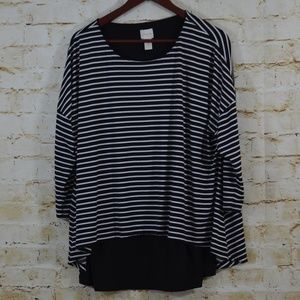 Chicos  Sz Large Striped Layered Top